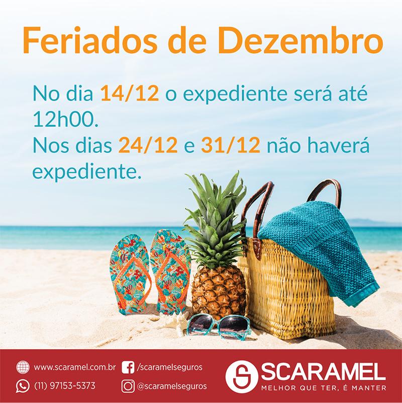 Feriados de Dezembro:  No dia 14/12 o expediente será até 12h00. Nos dias 24/12 e 31/12 não haverá expediente.